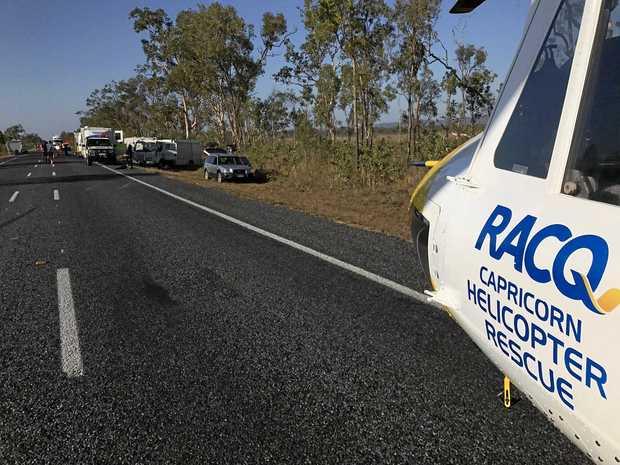 RACQ helicopter at the scene of a crash near Marlborough