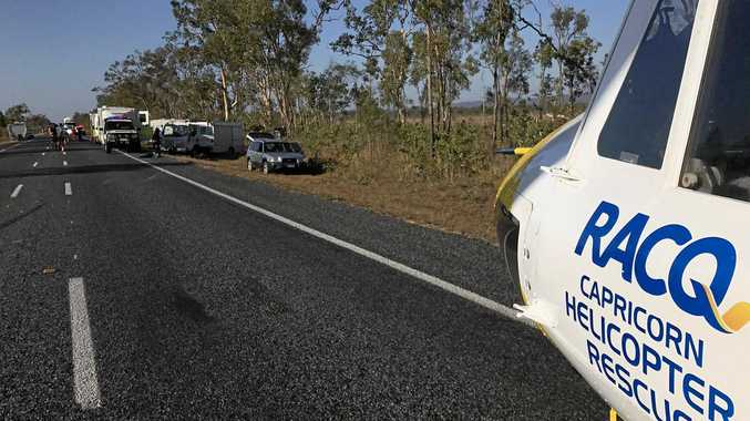 RACQ helicopter at the scene of a crash near Marlborough