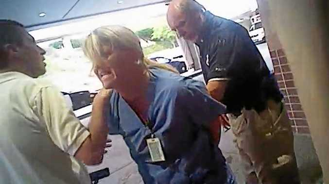 Nurse Alex Wubbels is arrested by Salt Lake City cop Jeff Payne.