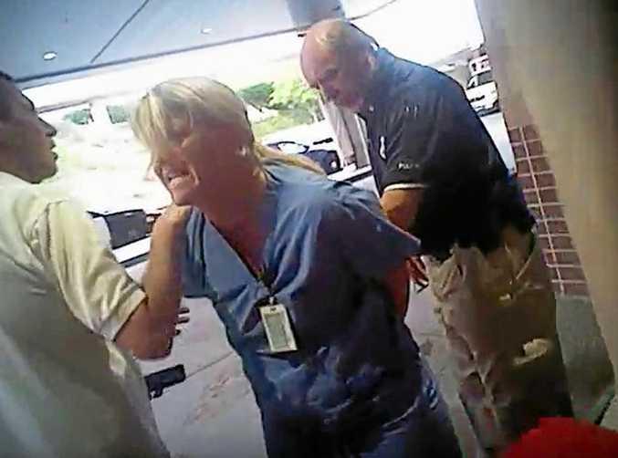 Nurse Alex Wubbels is arrested by Salt Lake City cop Jeff Payne.