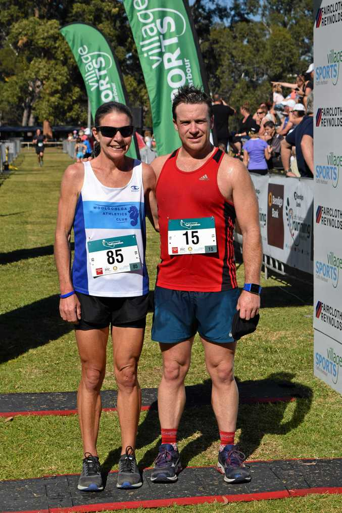 The first two half marathon runners across the line in the Bendigo Bank Coffs Harbour Running Festival were Clare Palmer and Dave Burgess.