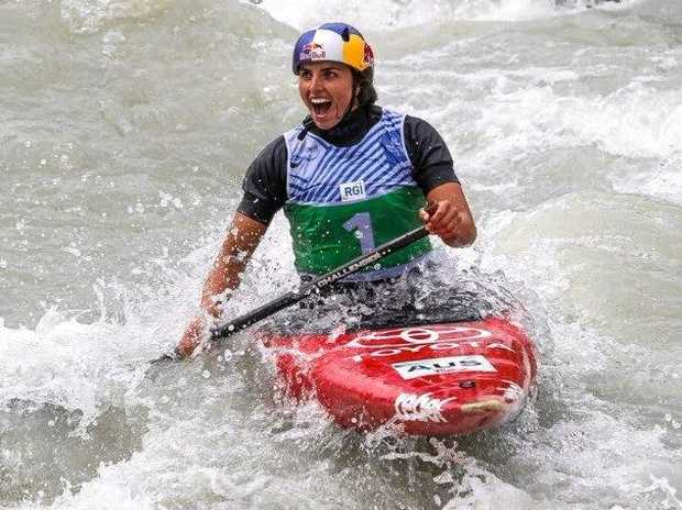 Australia's Jessica Fox competing in the women's C1 at the 2017 ICF Canoe Slalom World Cup in Ivrea, Italy.