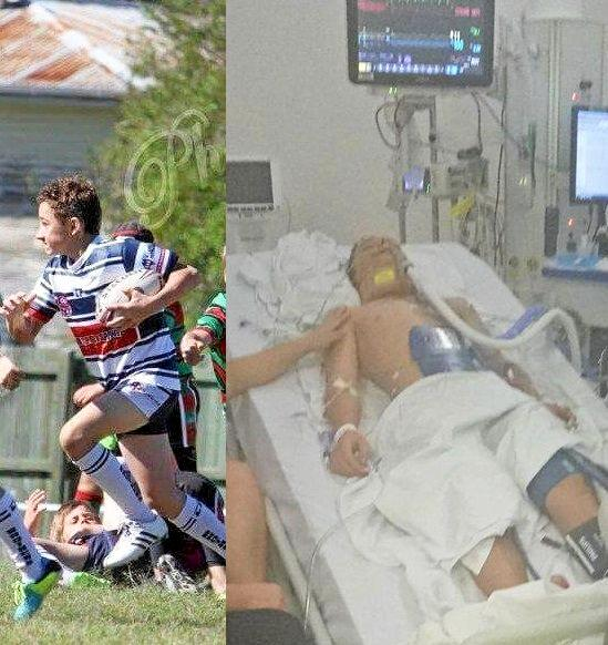 Left, athletic Kaleb loved sport, and right, Kaleb in a coma in hospital.