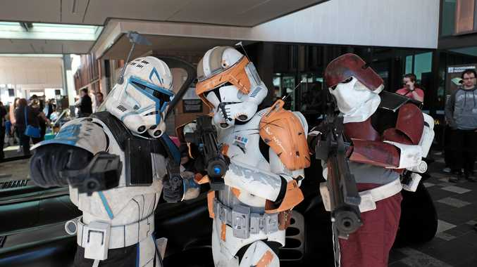 Captain Rex (Steven Kocsis), Commander Cody (Luke Shadbolt) and Marine (Bryan Gagen), of the 501st Legion, The Redback Garrison. At TooCon Pop Culture Festival at the Toowoomba City Library.