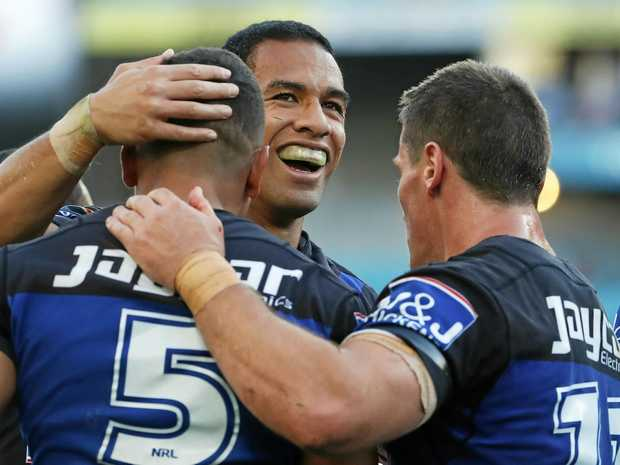 HEARTBREAKER: Will Hopoate celebrates after his Bulldogs scored a try.