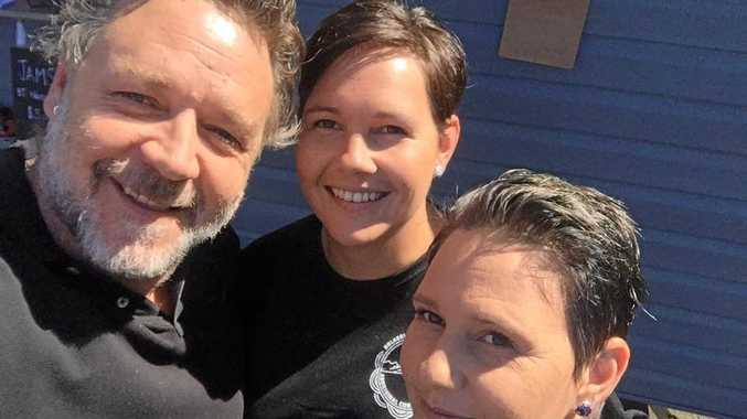 CELEBRITY SELFIE: Workers at the Nyanggan Gapi coffee van couldn't believe it when Russell Crowe stepped up to buy coffee today.