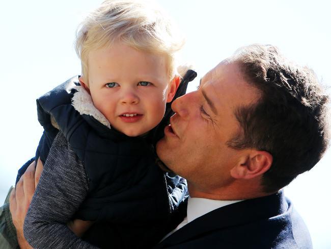 Kissing babies: Karl Stefanovic with Ben Fordham's son Freddie. Picture: Tim Hunter