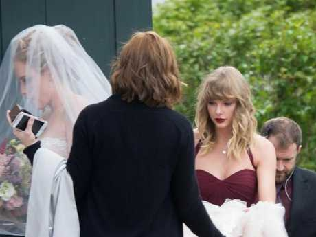 Taylor Swift was a bridesmaid for her friend Abigail Anderson (left). Picture: Splash News Source:Supplied