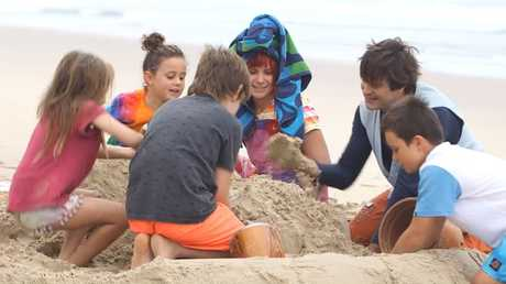 Bronte and Rio Sullivan of Lennox Head with friends plus Costa the Gnome and Scrapboy in Get Grubby TV.
