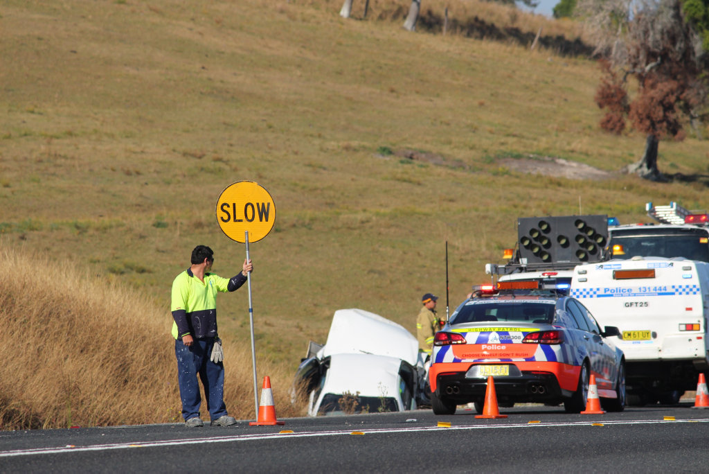 SHOCKING: A 70-year-old woman is in a serious condition after her car left the road on the Pacific Highway near Clarenza this morning.