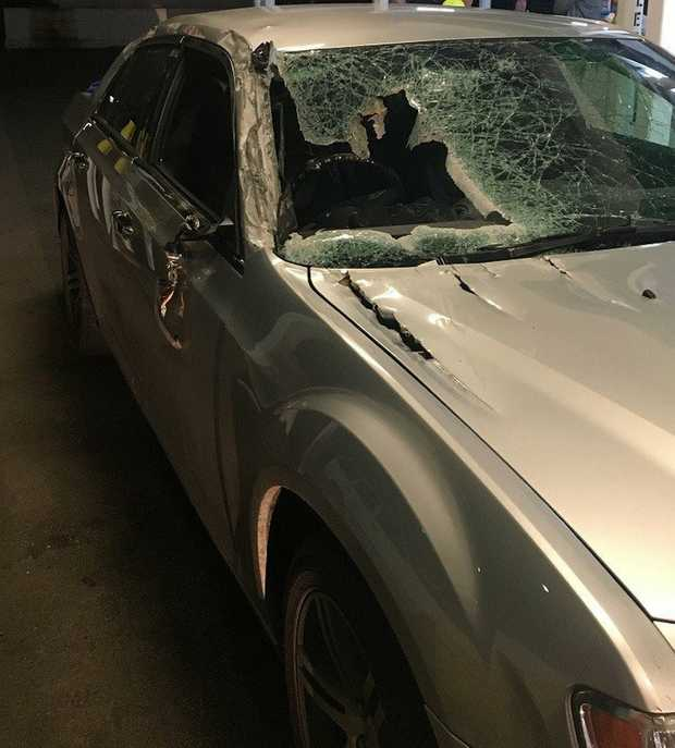 A man was seriously injured after an object fell from a truck and into his car near Nanango last night.