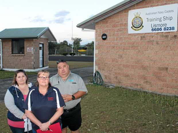 VALUE FOR YOUTH: Pictured are executive members of the TS Lismore Australian Navy Cadet unit (from left) treasurer Tiffany Eyears, Karen Miller and president for former cadet Aaron Eyears, who don't want Ballina council to sell the land the unit is based on.