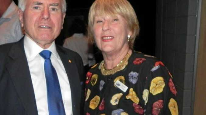 Pauline Clayton, pictured with former Prime Minister John Howard at the campaign launch for then LNP Nicklin candidate John Connolly.