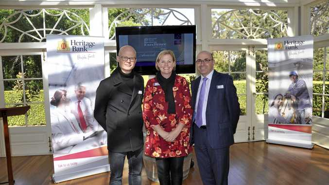 FILE PHOTO: Gabbinbar Homestead business manager Isaac Moody, Toowoomba Chamber of Commerce CEO Jo Sheppard and Heritage Bank CEO Peter Lock launch the 2017 Heritage Bank Business Excellence Awards at Gabbinbar Homestead.
