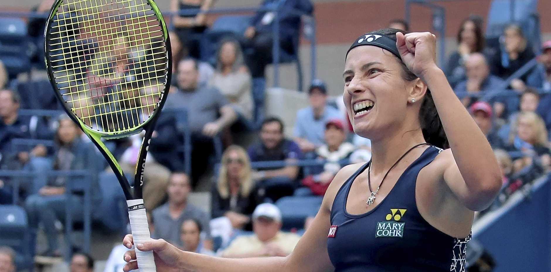 Anastasija Sevastova, of Latvia, celebrates after defeating Maria Sharapova.