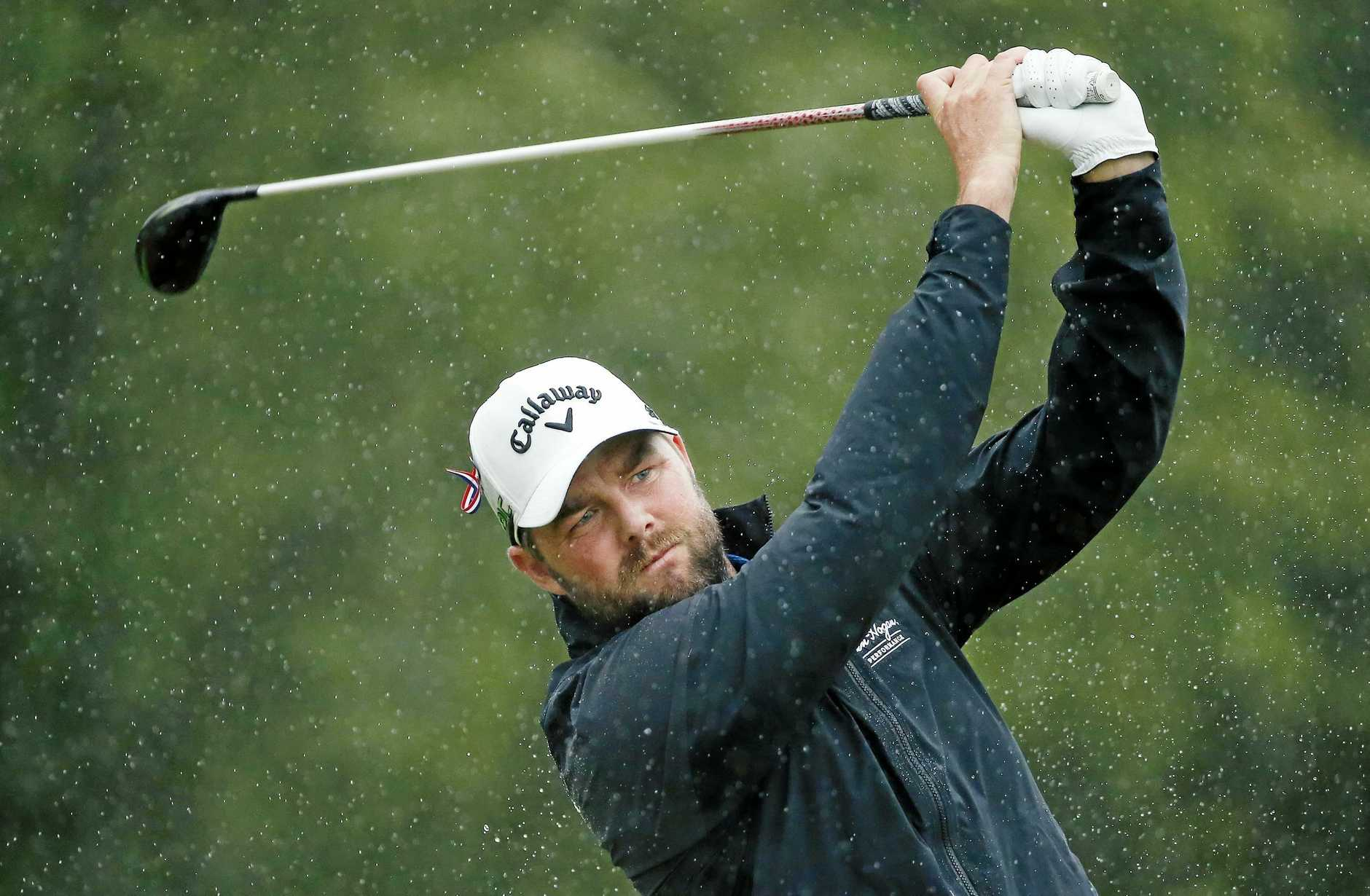 Marc Leishman tees off on the 17th at TPC Boston.
