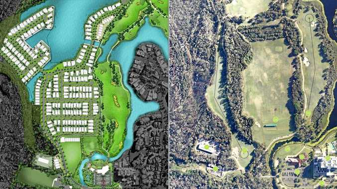 Maps show the Pelican Waters Golf Club as it is (right) and how it will be with a new 270-home residential development.