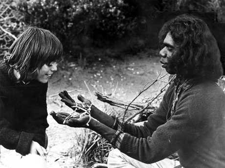Actor Greg Rowe with David Gulpilil in scene from the original Storm Boy.