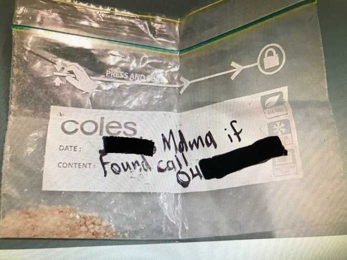 A bag of drugs found after the Maroochy Music and Visual Arts Festival with a persons name and phone number written on the front.