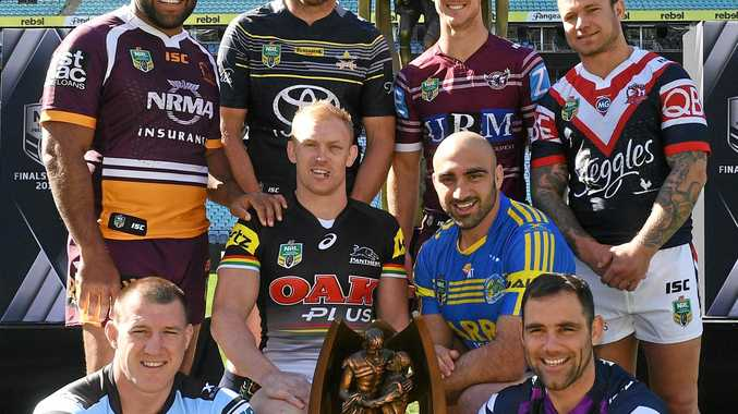 Sam Thaiday (top left) is to quit the NRL next season. He is pictured at the launch of the NRL finals series with representatives from the other finals teams.