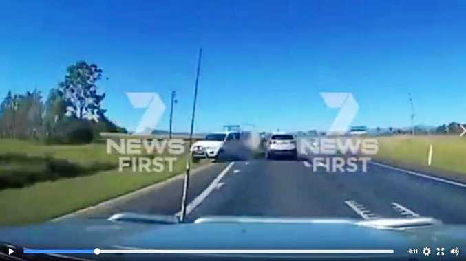 Dramatic footage of a nose to nose crash on the Bruce Hwy near Proserpine.