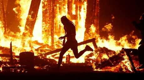 Aaron Joel Mitchell died hours after running full force into the Burning Man effigy. Picture: Reuters Jim Bourg