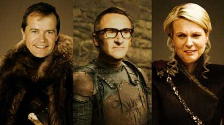 Bill Shorten as Jon Snow, Richard Di Natale as Theon Greyjoy and Tanya Plibersek as Daeneryn Targaryen. Picture: Ron Erdon/sarcastic.com.au