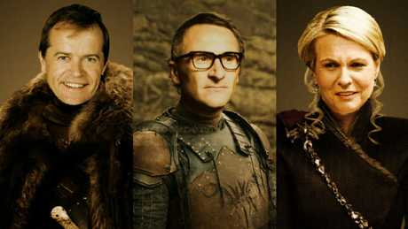 Bill Shorten as Jon Snow, Richard Di Natale as Theon Greyjoy and Tanya Plibersek as Daeneryn Targaryen. Picture: Ron Erdon/sarcastic.com.au