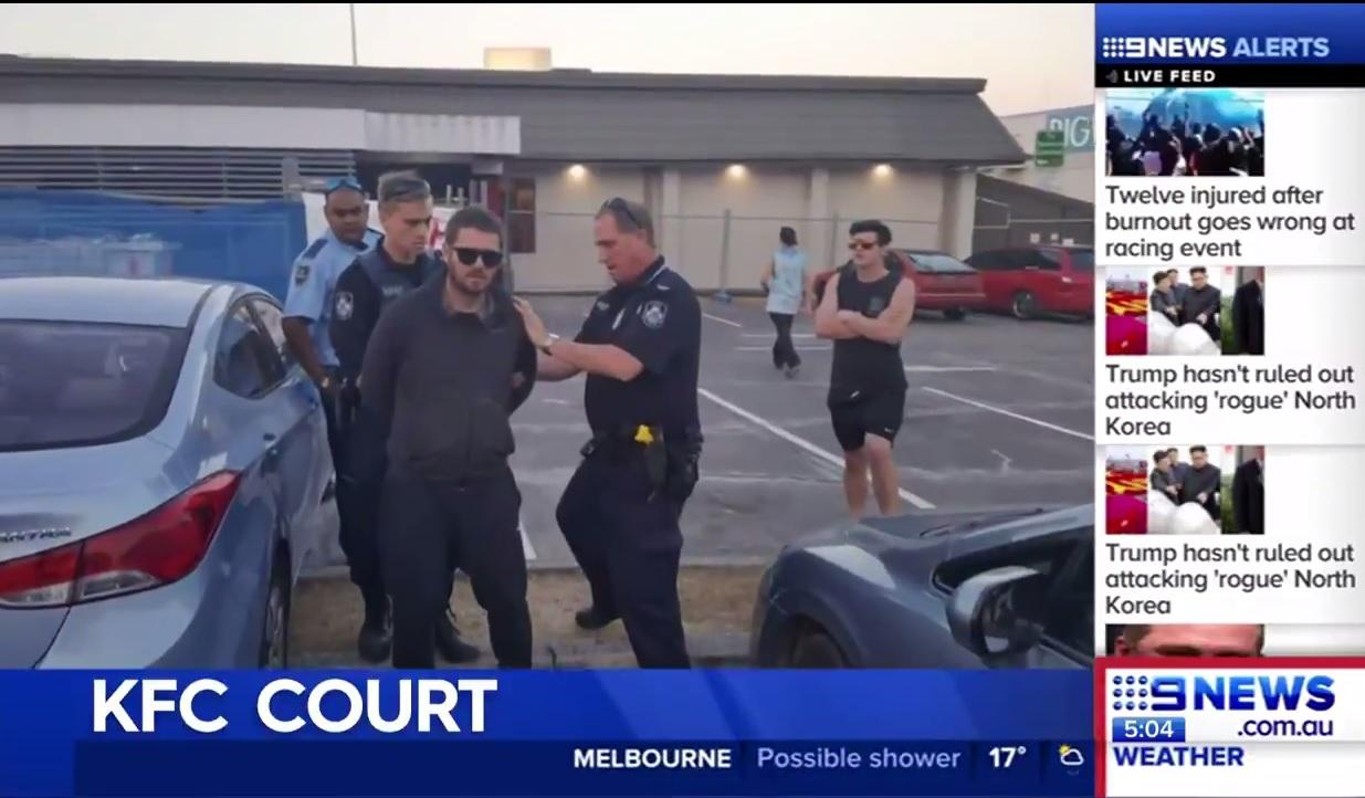 KFC CRASH: A man will face court after a dramatic scene at KFC Redbank on Saturday.  Credit: Nine News Queensland