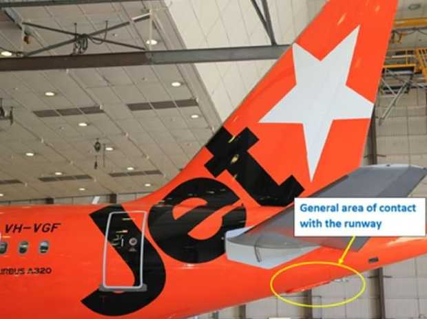 There was some damage to the tail of the A320. Picture: Australian Transport Safety Bureau