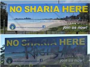 Controversial 'sharia law' billboard vandalised