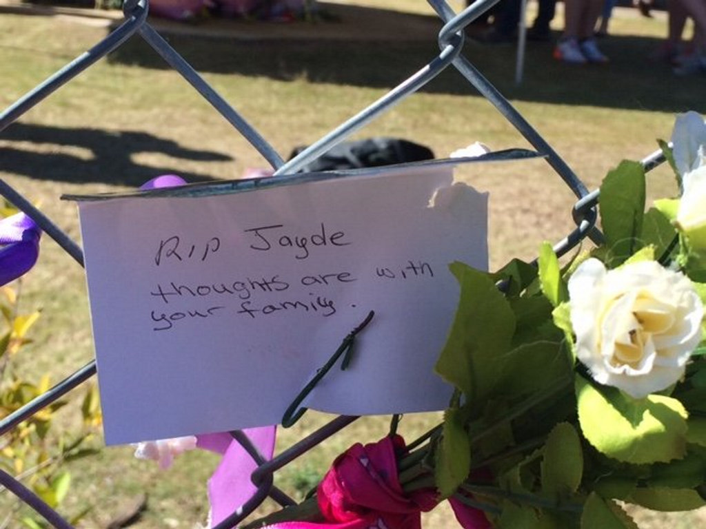 Floral tributes left outside Lockyer District High School in honour of Jayde Kendall. Photo Bev Lacey
