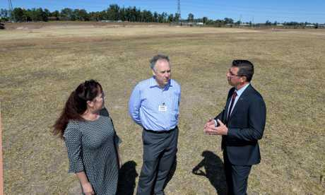 Cr Kylie Stoneman, Costco managing director Patrick Noone and Ipswich Mayor Andrew Antoniolli at the site for the Bundamba Costco.