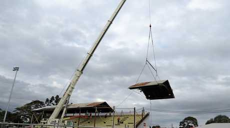 RAISING THE ROOF: The grandstand at the Mackay Showgrounds is being taken apart and relocated.