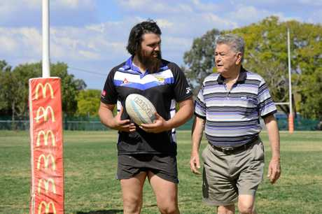WISE WORDS: Goodna prop Zac Lemberg gets the good oil from his grandfather Joe Richardson.