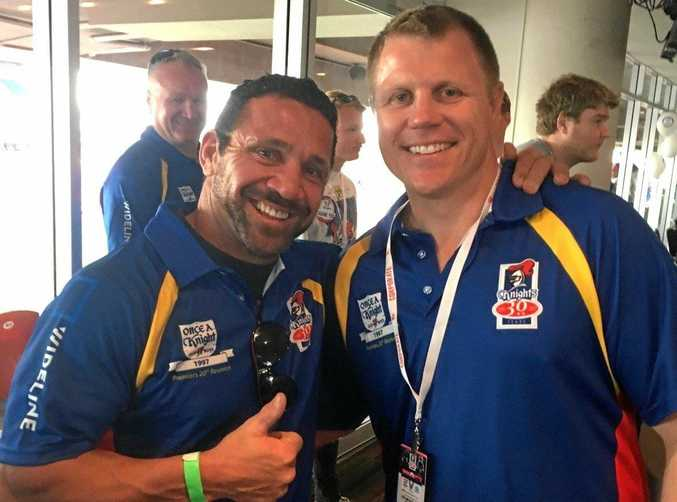 Newcastle Knights premiership players Robbie O'Davis and Darren Albert at their 1997 grand final reunion at the weekend.