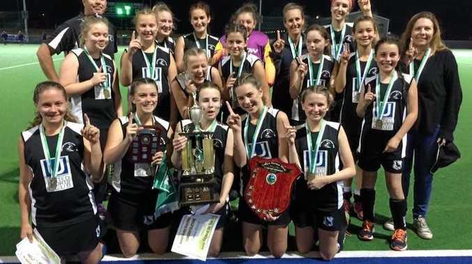 Wests' unbeaten C Grade girls grand final-winning hockey team.
