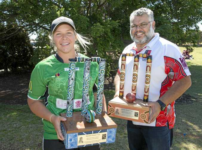 National Indigenous Cricket Championship representative Shaye Easton and SWIN chairperson Peter Jackson preparing for this year's Western Rivers Cup.
