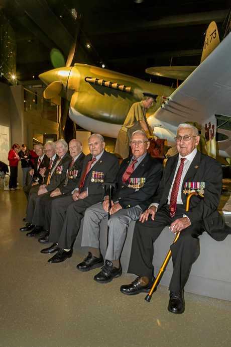 Milne Bay Veterans (L-R) Edwin Bousen, William Hansen, David 'Bruce' Robertson, Alexander Jenkins, Gregor McGregor, Eric Elms, and Reginald Young.