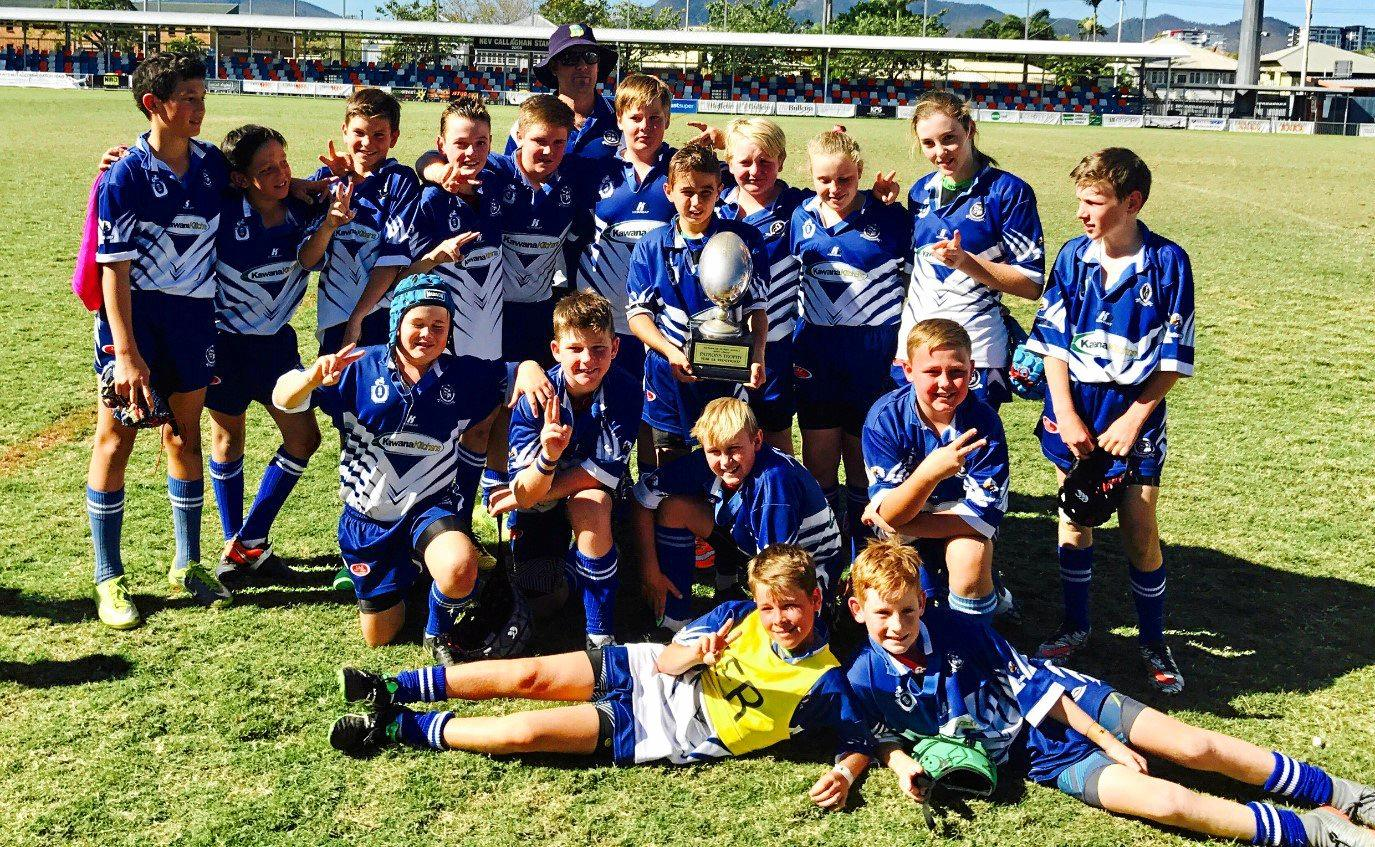 CHAMPIONS: Frenchville State School celebrates its victory in the 6A division grand final.
