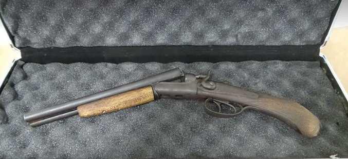 The gun seized in a recent search warrant.