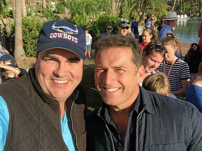 Whitsundays MP Jason Costigan caught up with old mate and Today Show host Karl Stefanovic on Hamilton Island after Cyclone Debbie.