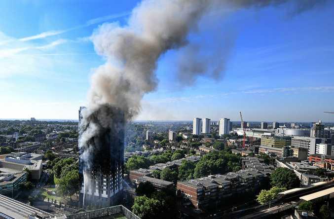 Grenfell Tower, a 24-storey apartment block in North Kensington, London, burns on June 14.