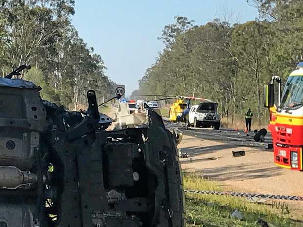 RACQ Capricorn Helicopter Rescue took a 29-year-old man to hospital after he was involved in a two-vehicle crash on the Bruce Hwy near Bororen on Tuesday.