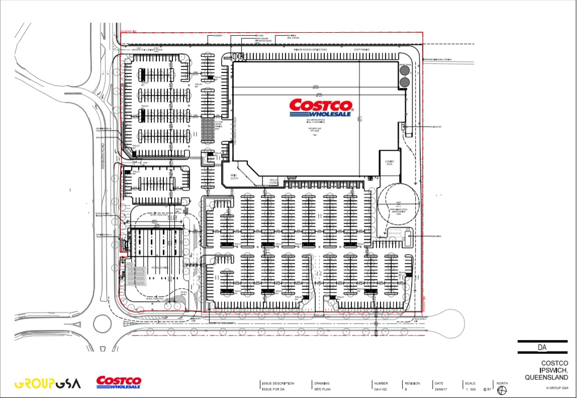 DA LODGED: Costco's DA show plans for a massive warehouse at Bundamba including hundreds of car parking spaces and a petrol station.