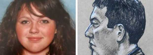 The body of Jayde Kendall, left, was still clad in her Lockyer High School uniform, and right, a sketch of accused Brenden Bennetts in court during the trial. Illustration: Travis D. Hendrix/AAP