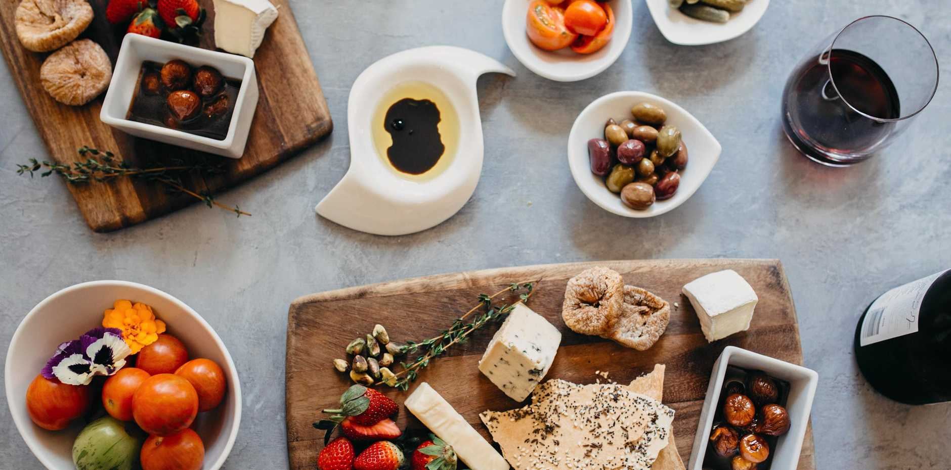 Enjoy a range of cheeses and accompaniments.