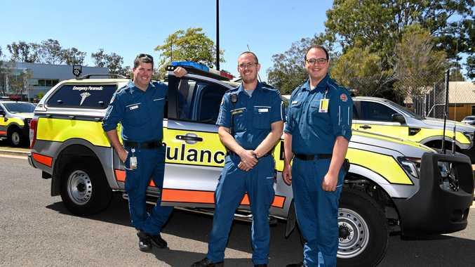 CRITICAL CARE TRAINING: Michael Porter, Dean Bennett and Jacob Lange at the Bundaberg Ambulance Station.
