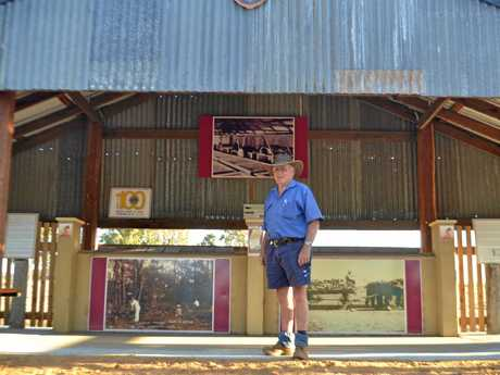 Lions member Lindsay Marsden outside the replica shed.