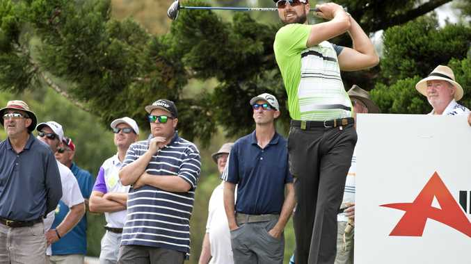 Tournament winner Daniel Pearce teeing off during is final round in this year's Coca-Cola Queensland PGA Championship City Golf Club.